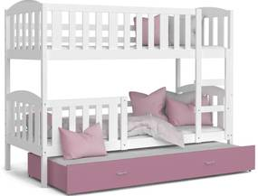 Expedo Pat supraetajat copii cu pat suplimentar KUBA 3 color + saltea + somieră