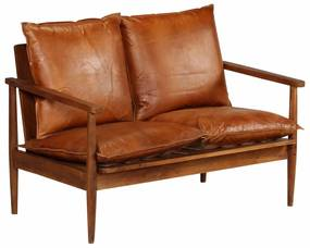 246482 vidaXL Canapea cu 2 locuri, piele naturală cu lemn de acacia, maro