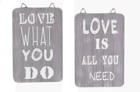 Set 2 plăcuțe decorative din lemn Ego Dekor Love