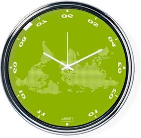 Ceas invers cu o hartă mondială 2 - verde, diametru 32 cm   DSGN