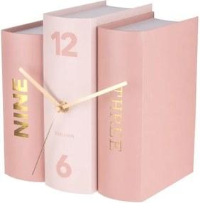 Ceas de birou, formă cărți, roz