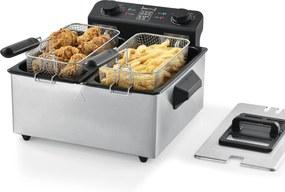 [neu.haus]® Friteuza dubla AAOF-7502, 40 x 40 x 23 cm, 2000W, 230V, 190°C, 2x3 litri, otel inoxidabil, negru/argintiu