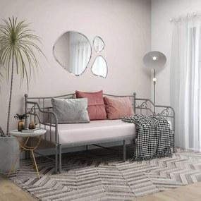 324766 vidaXL Cadru pat canapea extensibilă, gri, 90x200 cm, metal