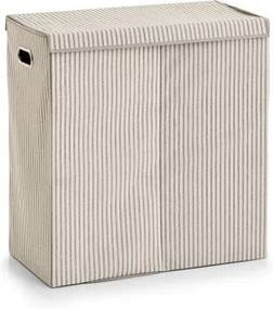 Cos pentru rufe cu capac si 2 compartimente, Fleece, Bej Stripes, l61,5xA31xH63 cm