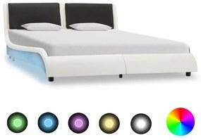 280374 vidaXL Cadru de pat cu LED, alb și negru, 140x200 cm, piele ecologică