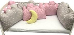 Set 6 aparatori patut pernute norisori cu luna roz