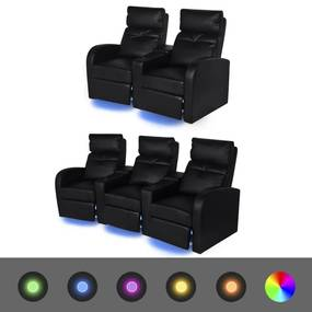 274314 vidaXL Canapea rabatabilă LED 2+3 locuri piele artificială negru 2 buc