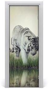Autocolante pentru usi tigru alb