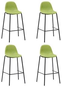 281534 vidaXL Scaune de bar, 4 buc., verde, material textil