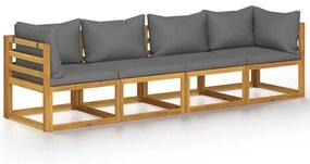 3057608 vidaXL Canapea de grădină cu 4 locuri, cu perne, lemn masiv de acacia