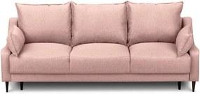 Canapea extensibilă cu spațiu pentru depozitare Mazzini Sofas Ancolie, roz, 215 cm