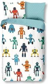 Lenjerie de pat din bumbac pentru copii Good Morning Robots, 140 x 200 cm