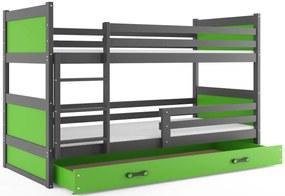 Expedo Pat supraetajat FIONA 2 COLOR + SD + saltea + somieră GRATIS, 90x200 cm, grafit, verde