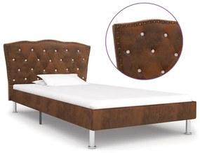 280542 vidaXL Cadru de pat, maro, 90 x 200 cm, piele întoarsă artificială