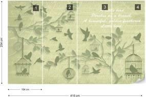 Fototapet GLIX - Cherry Blossom And Birds Vintage Green + adeziv GRATUIT Tapet nețesute - 416x254 cm
