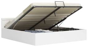 285550 vidaXL Cadru pat hidraulic cu ladă LED alb 160x200 cm, piele ecologică