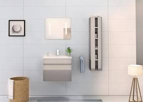 Set 3 piese mobilier pentru baie, gri, 60 cm