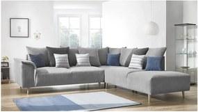 Canapea cu șezlong pe partea dreaptă Bobochic London, gri