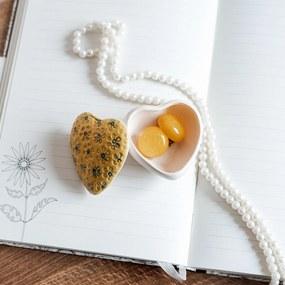 Cutie bijuterii din ceramica, inima galbena, detalii florale