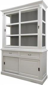 Bufet alb/gri din lemn de mahon 220 cm Venice HSM Collection