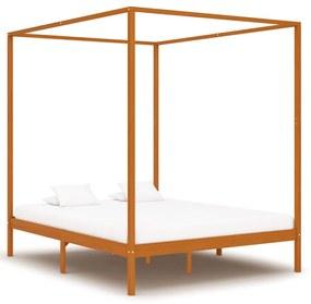 283260 vidaXL Cadru pat cu baldachin, maro miere, 160x200 cm, lemn masiv pin