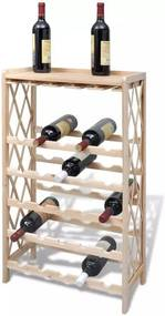 Suport din Lemn cu Rafturi pentru Vin 25 Sticle