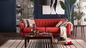 Canapea extensibila cu lada de depozitare, tapitata cu stofa, 3 locuri Laura Rosu, l234xA95xH80 cm