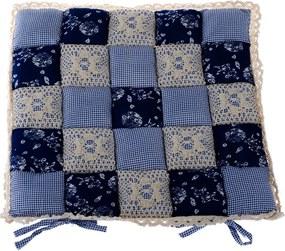 Pernă scaun Patchwork, albastru închis, 40 x 40 cm