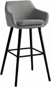 Scaun bar, material textil gri deschis/negru, TAHIRA