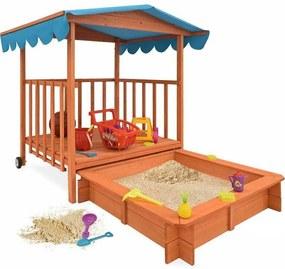 Casuta de joaca din lemn cu lada de nisip si acoperis parasolar
