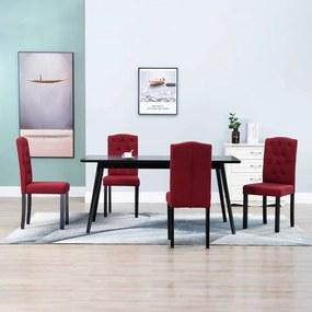 249010 vidaXL Scaune de bucătărie, 4 buc., roșu vin, material textil