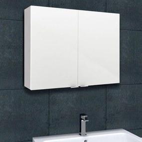 Corp suspendat pentru baie cu 2 usi, PAL Alb, 80x15x60 cm