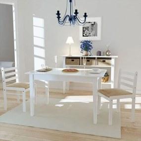 242030 vidaXL Scaune de bucătărie, 2 buc, alb, lemn masiv de hevea & catifea