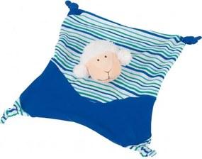 Jucarie mini paturica albastra cu oita Goki