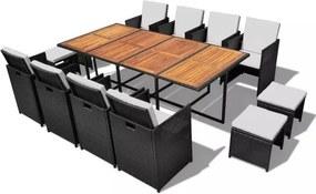 Set mobilier de exterior 33 piese, poliratan și acacia, negru
