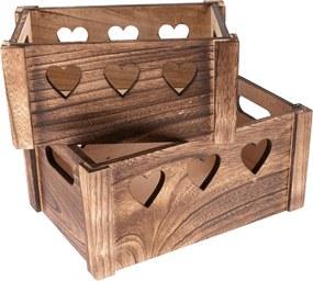 Set de cutii decorative din lemn Hearts 2 buc, maro