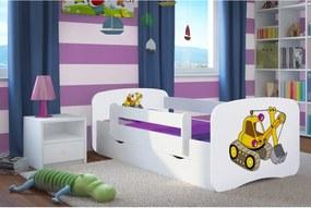 copii pat cu barieră Ourbaby - excavator- alb 140x70 cm pat + spațiu de depozitare