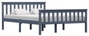 283229 vidaXL Cadru de pat, gri, 140 x 200 cm, lemn masiv de pin