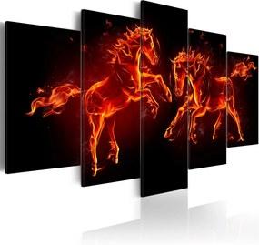 Tablou Bimago - Fiery Horses 200x100 cm
