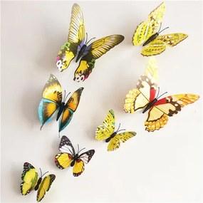 Stickere 3D fluturași cu magnet, galben, 12 buc.