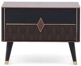 Noptiera din pal si lemn cu 1 sertar Diamond Nuc / Grafit, l66,6xA43,8xH48,7 cm