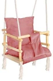Leagan pentru copii, lemn, perna roz, 33.4x34.5x25 cm, Springos