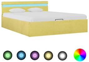 285621 vidaXL Cadru pat hidraulic ladă & LED, galben lime, 140x200 cm, textil