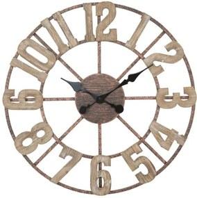 Ceas de perete Beula, 63.5x63.5x4 cm, mdf/ metal, maro