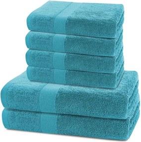 Prosoape de mâini și de baie din bumbac frotir culoare turcoaz, set 6 buc