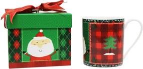 Cană din porțelan chinezesc cu motive de Crăciun ambalată în cutie muzicală Silly Design Santa & Christmas tree, 350 ml