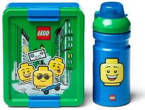 Set caserolă pentru gustări și sticlă LEGO® Iconic, verde - albastru