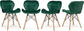 Set de scaune din catifea SMARAGD 3 + 1 GRATIS!
