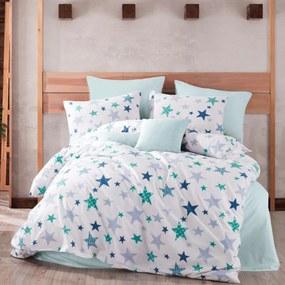 Lenjerie de pat Stars, din bumbac, albastru, 140 x 200 cm, 70 x 90 cm