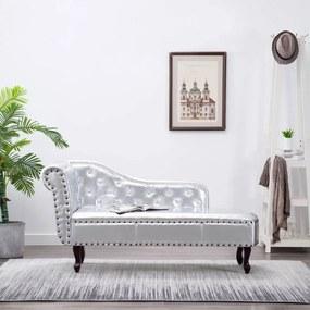 60657 vidaXL Șezlong, argintiu, piele ecologică